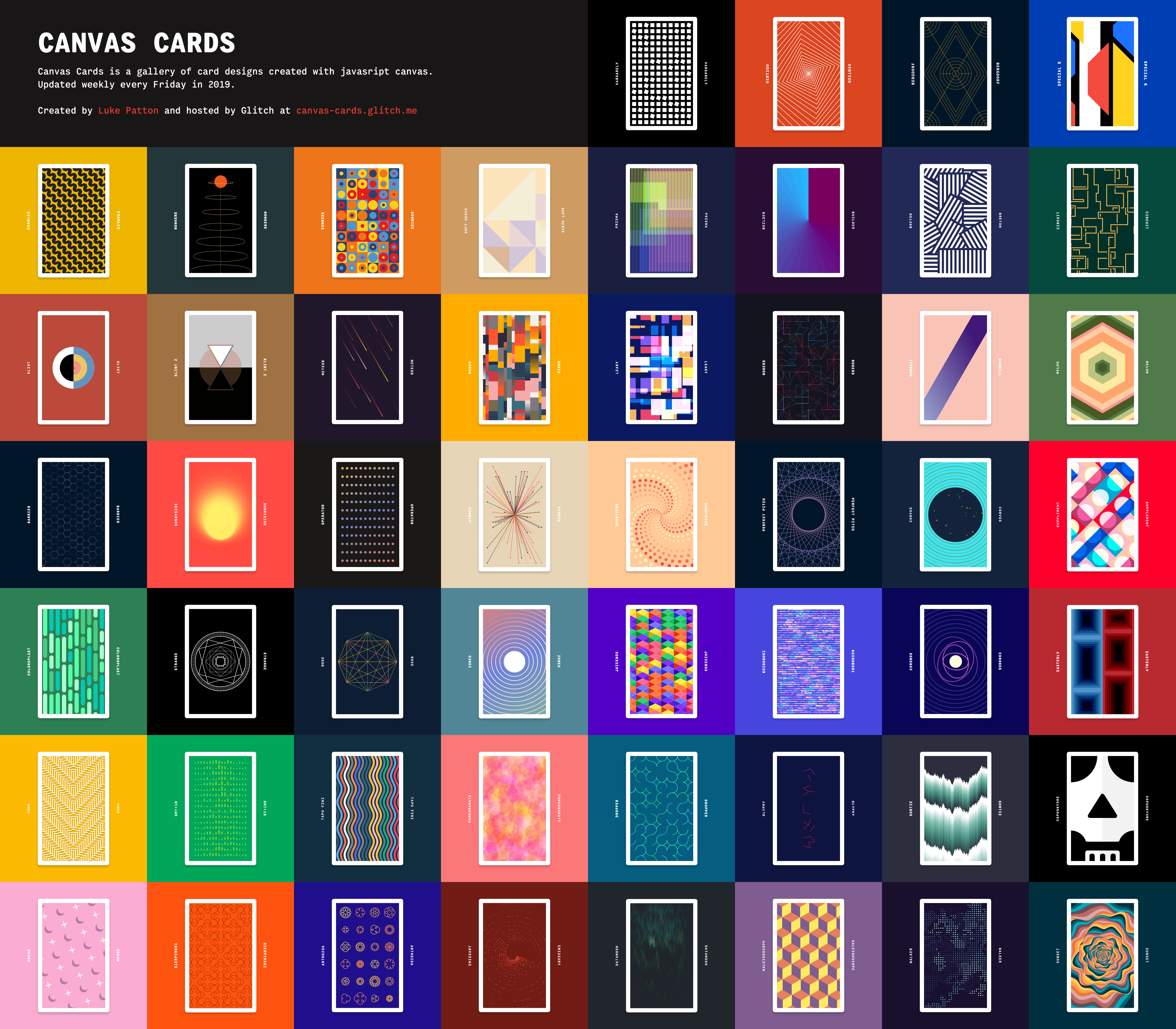 The completed Canvas Cards output